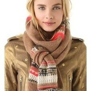 Juicy Couture Long Scarf Brown Cream Red One Size